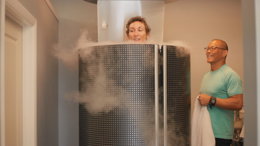Christa trying Egan Inoue's Cryotherapy to ease side effects of the hormone blockers.