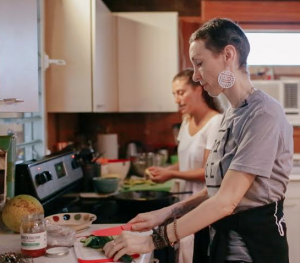 Learning how to cook with Nina who also runs Nina Cucina Hawaii a healthy and vegan grab n go meal service sold in the Waimanalo Co-Op